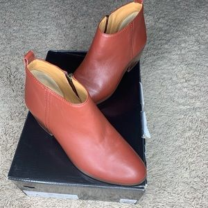Red J Crew Leather Sawyer Boot
